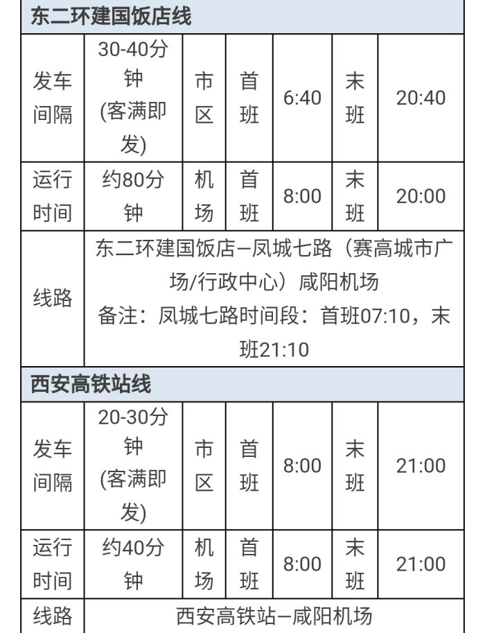 求助咸阳机场到西安市区的大巴时刻表!