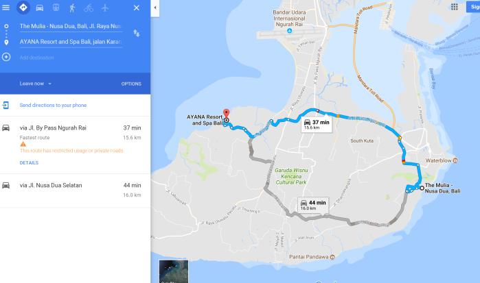 巴厘岛美丽雅度假村到阿雅娜酒店的最佳路线