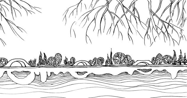 西湖简笔画风景