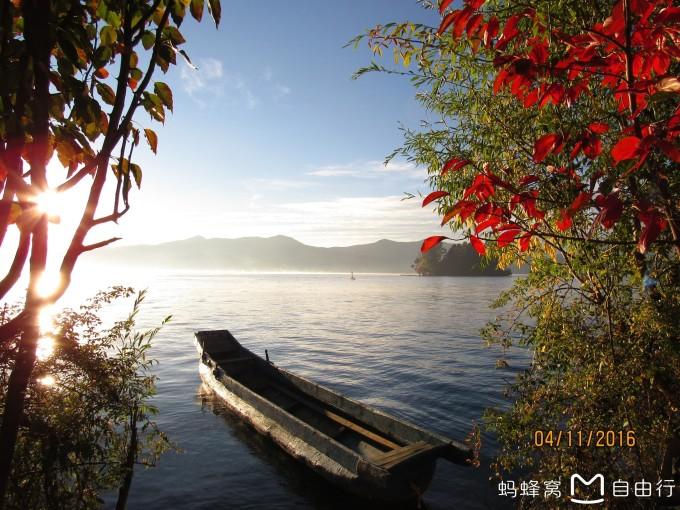 太阳山水小船风景图片